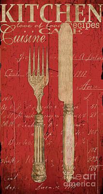 Vintage Kitchen Utensils In Red Poster by Grace Pullen