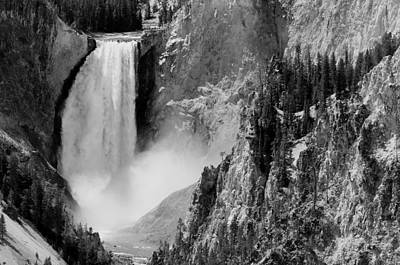 Yellowstone Waterfalls In Black And White Poster by Sebastian Musial