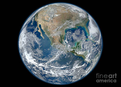 Full Earth Showing North America Poster by Stocktrek Images