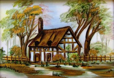 1129b Cottage Painted On Top Of Gold Poster by Wilma Manhardt