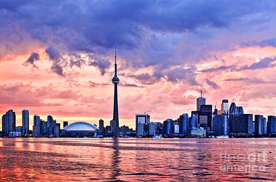 Toronto Sunset Skyline Poster by Elena Elisseeva
