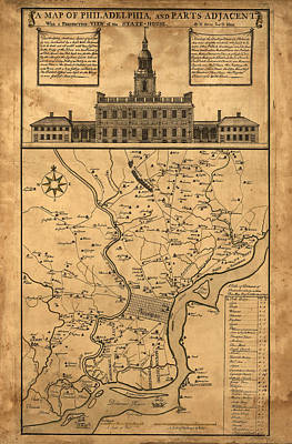 1752 Philadelphia Map Poster by Bill Cannon