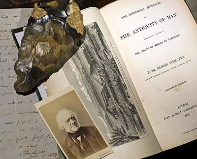 1863 Lyell's Antiquity Of Man Desktop. Poster by Paul D Stewart