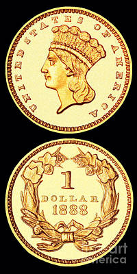 1888 U.s. Gold Type 3 Dollar Poster by Jim Carrell