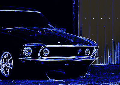 1969 Mustang In Neon Poster by Susan Bordelon