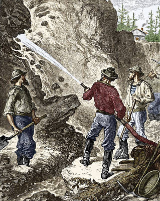 19th-century Gold Mining, California Poster by Sheila Terry