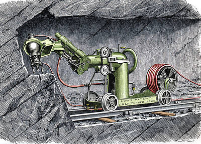 19th-century Mining Machine Poster by Sheila Terry