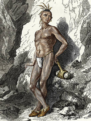 19th-century Native American Mine Worker Poster by Sheila Terry