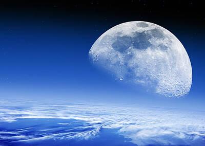Moon Rising Over Earth's Horizon Poster by Detlev Van Ravenswaay
