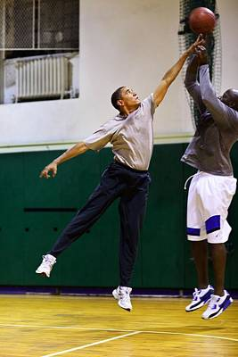 President Barack Obama Plays Basketball Poster by Everett