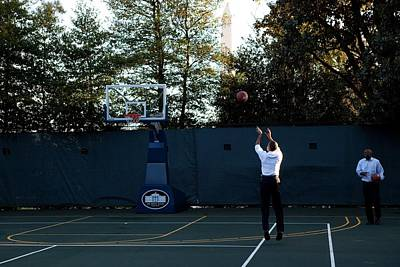 President Barack Obama Shoots Hoops Poster by Everett