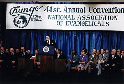 Ronald Reagan. President Reagan Giving Poster by Everett