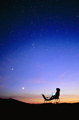 Starry Sky And Stargazer Poster by David Nunuk