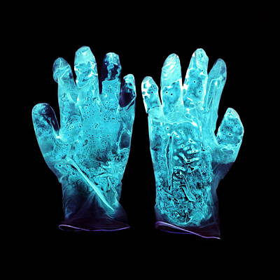 Used Surgical Gloves, Negative Image Poster by Kevin Curtis