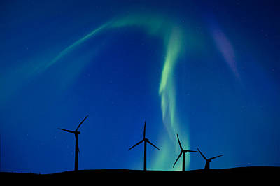 Wind Farm And Northern Lights Poster by Mark Duffy