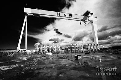 Giant Harland And Wolff Crane Goliath At Shipyard Titanic Quarter Queens Island Belfast Poster by Joe Fox