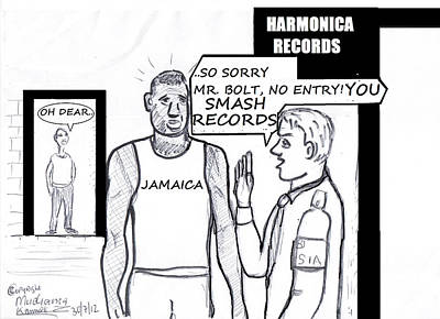 Usain Bolt V Security Guard Poster by Mudiama Kammoh