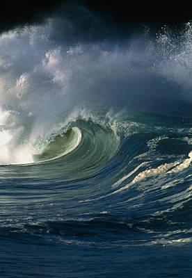 Wind-blown Wave Breaking In Hawaii Poster by G. Brad Lewis