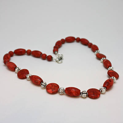 3612 Red Coral Necklace Poster by Teresa Mucha