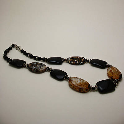 3617 Crackle Agate And Onyx Necklace Poster by Teresa Mucha