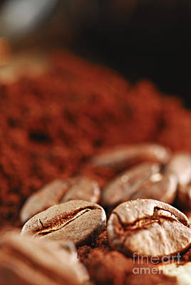 Coffee Beans And Ground Coffee Poster by Elena Elisseeva