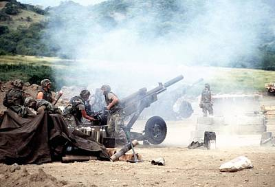 82nd Airborne Soldiers Fire Artillery Poster by Everett