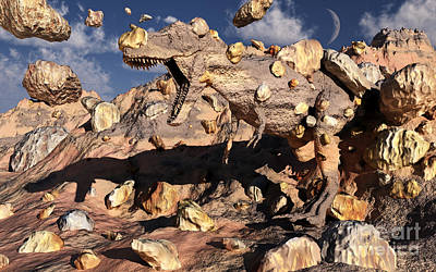 A Fossilized T. Rex Bursts To Life Poster by Mark Stevenson