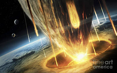 A Giant Asteroid Collides Poster by Tobias Roetsch