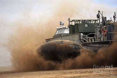 A Landing Craft Air Cushion Coming Poster by Stocktrek Images