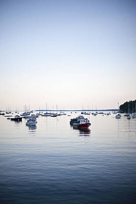 A Large Group Of Boats Float In A Maine Poster by Hannele Lahti