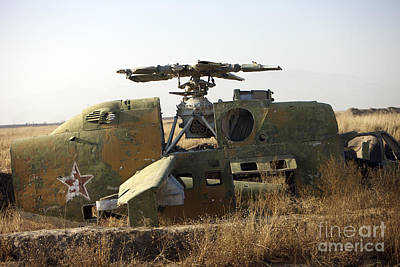 A Mi-35 Attack Helicopter At Kunduz Air Poster by Terry Moore