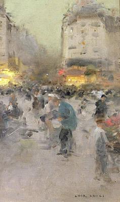 A Paris Street Scene Poster by  Luigi Loir