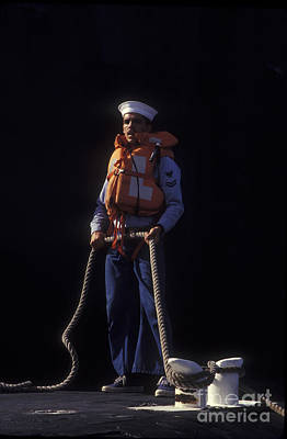 A Petty Officer Secures Rope Tied Poster by Michael Wood