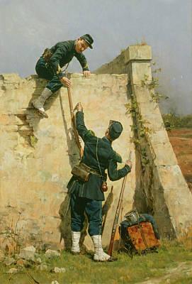 A Quick Escape Poster by Etienne Prosper Berne-Bellecour
