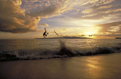 A Skimboarder Flips Head Over Heels Poster by Skip Brown
