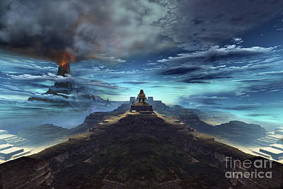 A Volcano Erupts Near An Ancient Mayan Poster by Corey Ford