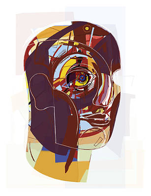 Abstract Artwork Of A Person's Face Poster by Paul Brown