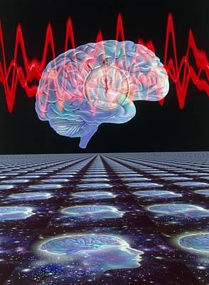 Abstract Artwork Of Human Brain & Eeg Brainwaves Poster by Mehau Kulyk