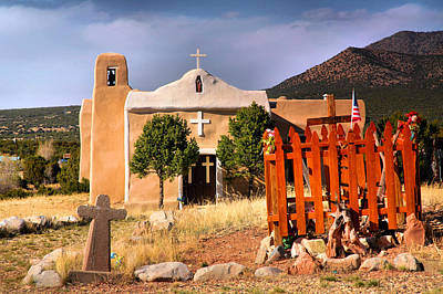 Adobe Church At Golden Poster by Steven Ainsworth