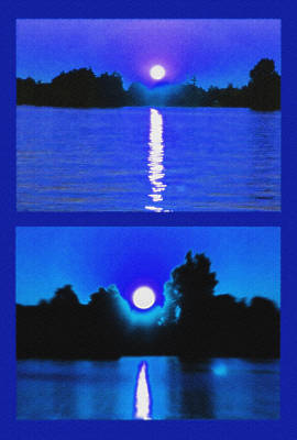 Alexandria Bay Moonrise Diptych Poster by Steve Ohlsen
