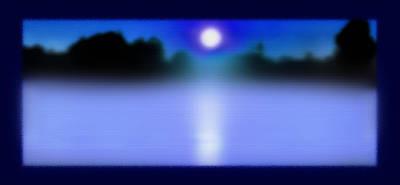 Alexandria Bay Moonrise Mist Poster by Steve Ohlsen