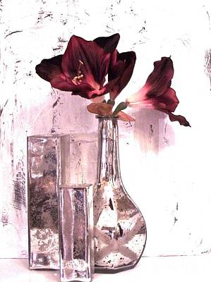 Amaryllis And Mercury Glass Vases Poster by Marsha Heiken