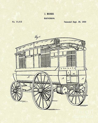 Ambulance Moses 1858 Patent Art Poster by Prior Art Design
