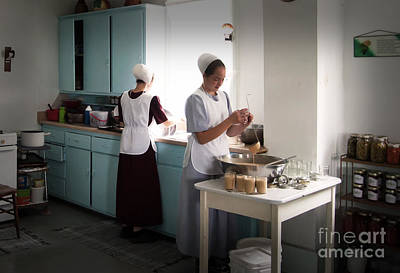 Amish Kitchen Work Poster by Fred Lassmann