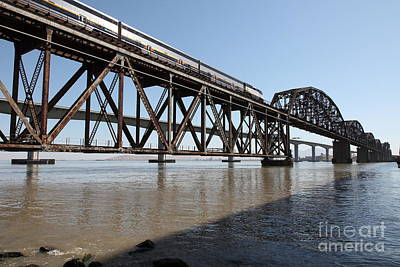 Amtrak Train Riding Atop The Benicia-martinez Train Bridge In California - 5d18829 Poster by Wingsdomain Art and Photography