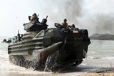 An Amphibious Assault Vehicle Hits Poster by Stocktrek Images