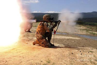 An Assaultman Fires A Rocket Propelled Poster by Stocktrek Images