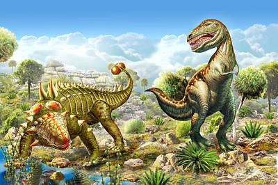 Anklosaurus And Tyranosaur Poster by Adrian Chesterman
