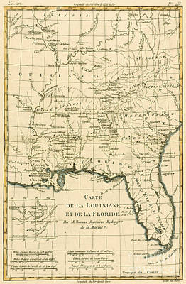 Antique Map Of Louisiana And Florida Poster by Guillaume Raynal
