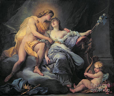 Apollo Caressing The Nymph Leucothea  Poster by Antoine Boizot